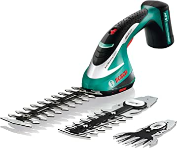 Bosch Cordless Shrub Shear Set with 3 Blades ASB 10.8 LI (Integrated LithiumIon Battery, 10.8 Volt, 2 Shrub Blades and 1 Grass Blade Included, in Case)