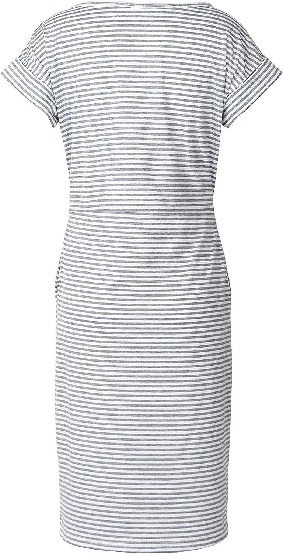 Smile Fish Womens Striped Elegant Short Sleeve Midi Dresses Pockets Casual Pencil Dress with Belt
