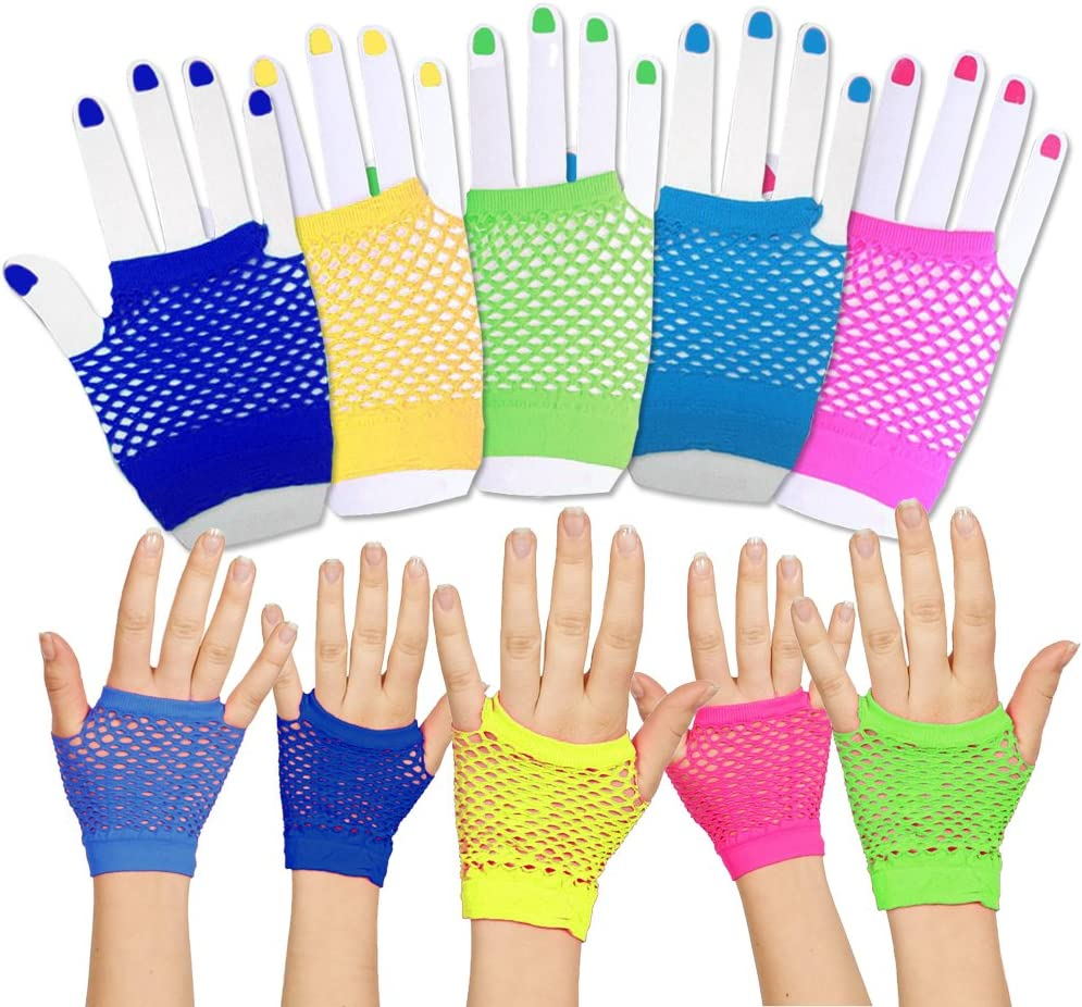Toy Cubby Funky Retro Style Colorful Fishnet Wrist Gloves - 24 Pieces