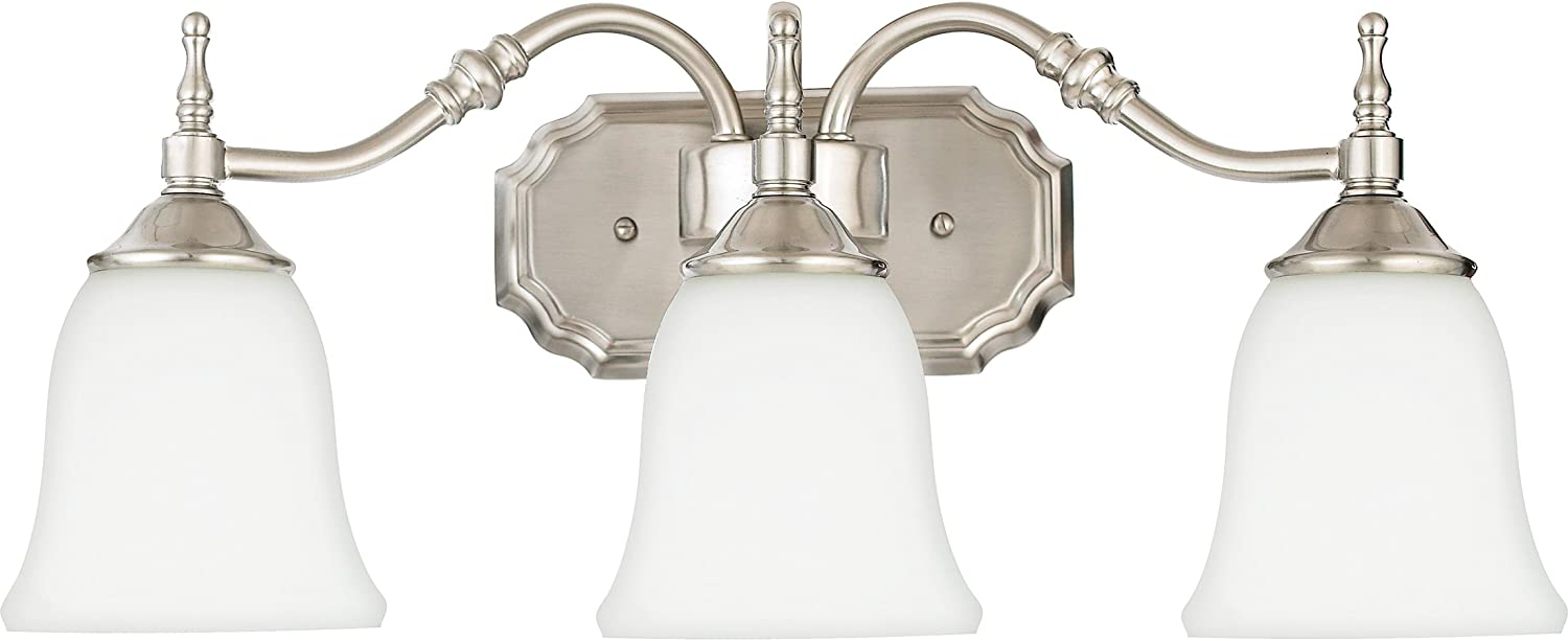 Quoizel TT8743BN Tritan Faucets Style Bath Vanity Wall Lighting, 3-Light, 300 Watts, Brushed Nickel 9 H x 22 W
