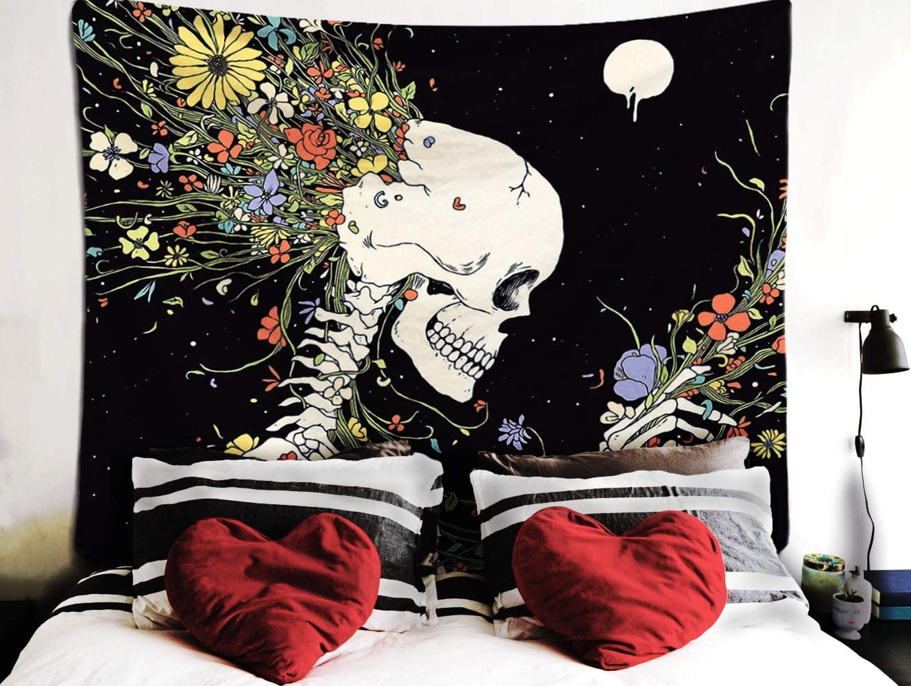 Maelove Skull Tapestry Skeleton Tapestry Hippie Wall Hanging Romantic Tapestries for Room Colorful Decor (51.2 X 59 inches)