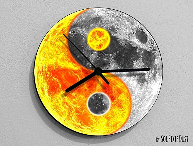 Amazoncom Sun And Moon Yin Yang Moon Wall Clock Handmade