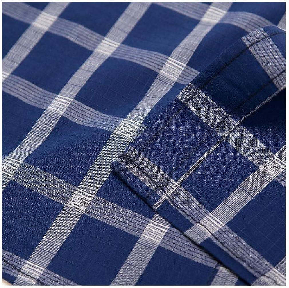 Winwinus Mens No Iron Long Sleeve Big /& Tall Single Breasted Plaid Shirts
