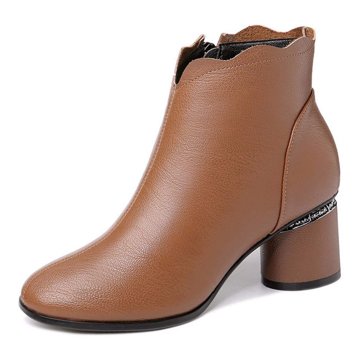 KPHY Damenschuhe Meine Damen Mode - Stiefel Kurze Stiefeln Dicken Absätzen 6 cm High Heels SAMT Runde Kopf Reißverschlüsse.