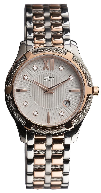 Daniel Steiger Architectホワイトレディース腕時計 – 3 ATM防水 – プレミアムグレードソリッドステンレススチール – 豪華な18 Kイエローゴールド – Unique Twistedベゼル – Sparkling indices B07656ZQXG