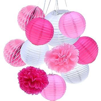 Outus 11 Piezas Lámpara de Papel de Seda Bolas de Nido de Abeja Papel Pom Poms para Decoración de Fiestas de Cumpleaños y Bodas