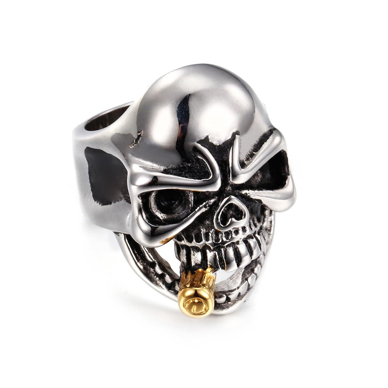 NELSON KENT Men's Domineering Skull Titanium Steel Ring