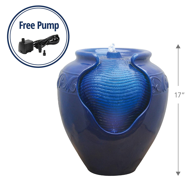 "Peaktop YG0036AZ Outdoor/Indoor Garden Water Glazed Pot Floor Fountain With LED Light, 17"" Height, Royal Blue"