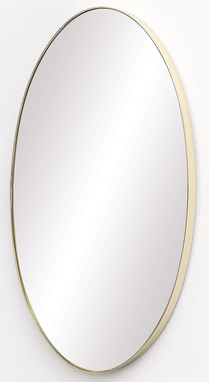 FineBuy Wandspiegel 45x80x4 cm Spiegel mit Rahmen Gold Flurspiegel Groß | Hängespiegel Flur zum Aufhängen | Garderobenspiegel Wand Modern | Dekospiegel Wohnzimmer Schlafzimmer