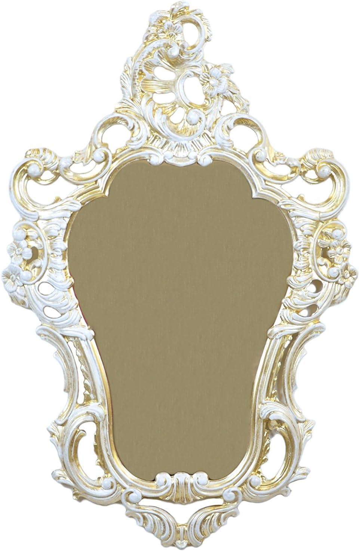 Ideacasa Specchio Oro Bianco SPECCHIERA Parete Stile Luigi XVI Finto Vintage ARREDO Barocco CM 75X49