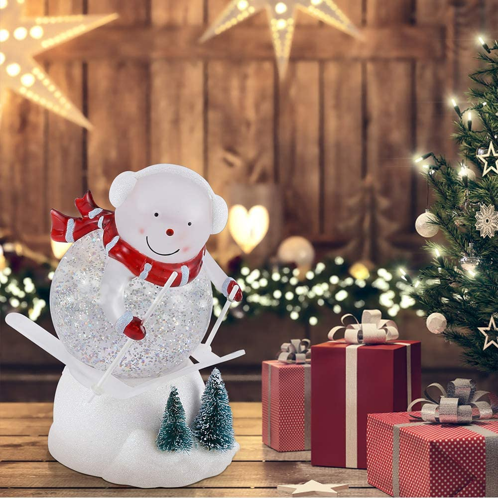 Water Snow Globe with Swirling Glitter and Battery /& USB Powered 7.3 Cute Skiing Santa Great Home Decoration and Gift pearlstar Lighted Snow Globe Figurine Santa Claus