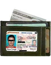 Wallet Men Women Credit Card Holder Vodabang Slim Minimalist Front Pocket RFID Blocking Genuine Leather Wallets with Gift Box (Green)