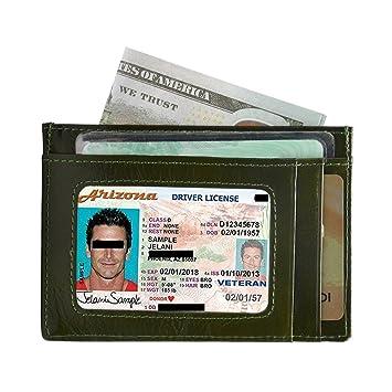 Carteras Tarjetas De Crédito RFID Bloqueo Hombre Mujer Tarjetero para tarjetas de crédito Monederos Piel (Green)