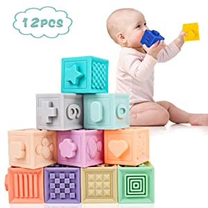 Supkiir Baby Soft Blocks, Safe Educational Building Silicone Blocks for Toddlers, Teething Chewing Squeeze Stackable Bath Toy for Kids with Numbers, Animals and Shapes for Matching Games