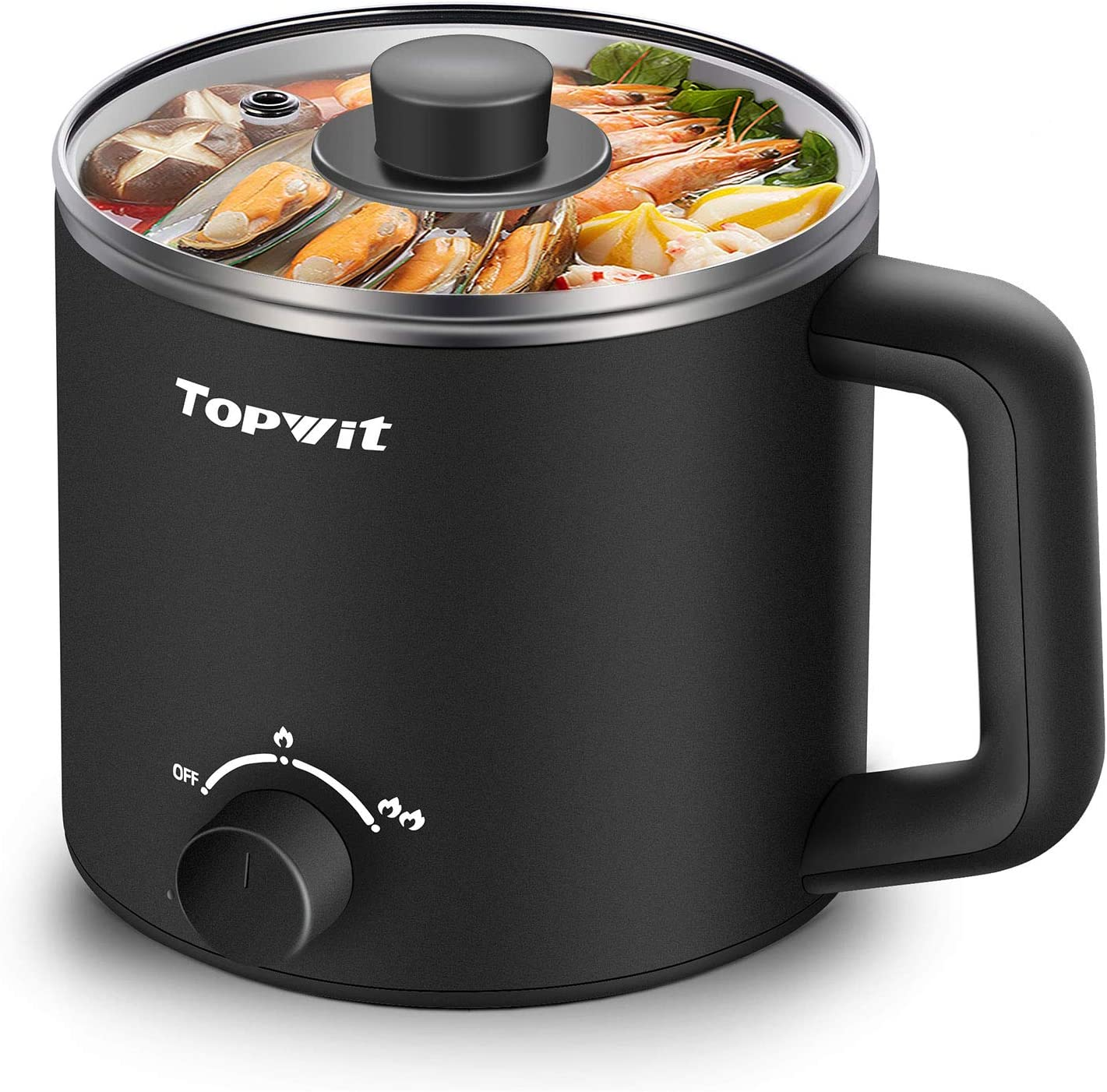 Topwit Electric Hot Pot, Mini Ramen Cooker, 1.6L Noodles Pot, Multifunctional Electric Cooker for Pasta, Shabu-Shabu, Oatmeal, Soup and Egg with Over-Heating Protection, Boil Dry Protection, Black