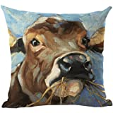 Academyus Tiger Dog Animal Oil Painting Style Cushion Cover Decorative Throw Pillow Case (4#)