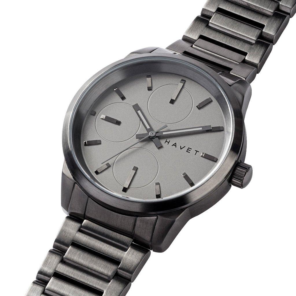 HAVET | Reloj de hombre Nevis de acero color antracita con brazalete de eslabones: Amazon.es: Relojes