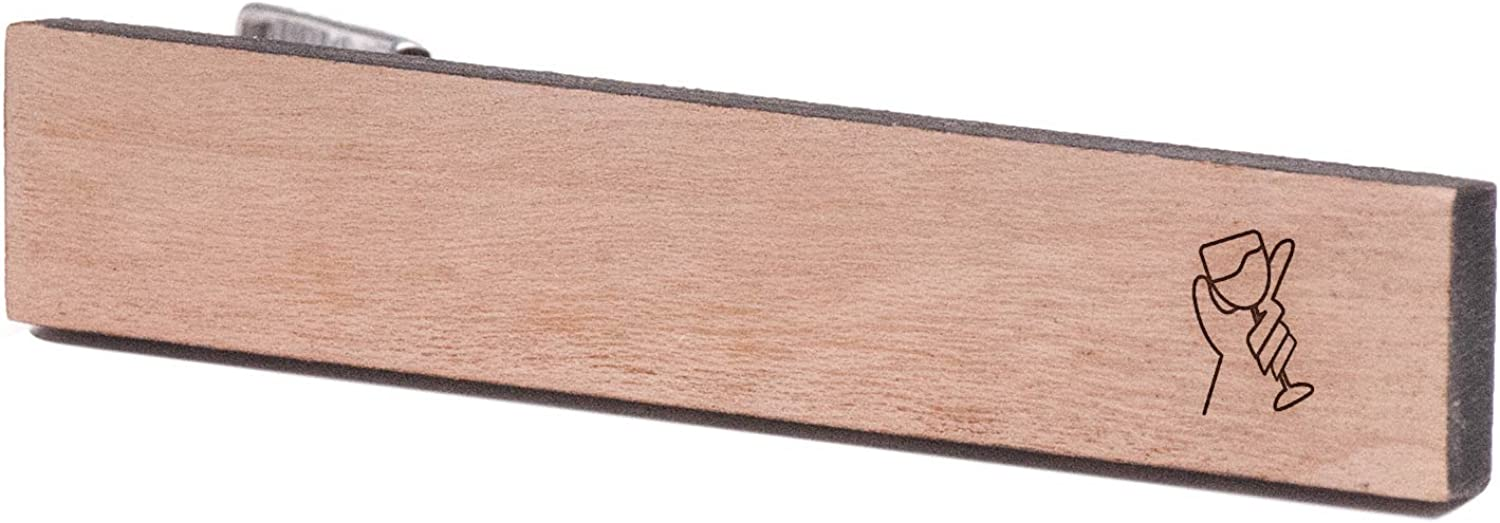 Wooden Accessories Company Wooden Tie Clips with Laser Engraved Dionysus Design Cherry Wood Tie Bar Engraved in The USA