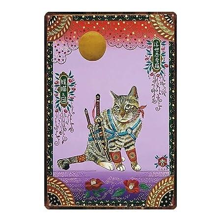 SALWON Samurai Cat -Cartel De Chapa Advertencia Placa Metal ...
