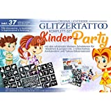 Motiven /& 12 Farben Glitzer-Tattoo Set Katzen /& Hunde mit 60 Schablonen