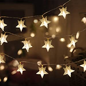 Star String Lights, TOFU 43 ft LED Fairy Lights Plug in, Extendable Waterproof Decorative Star Twinkle Lights for Bedroom Wall Wedding Indoor Outdoor, Warm White