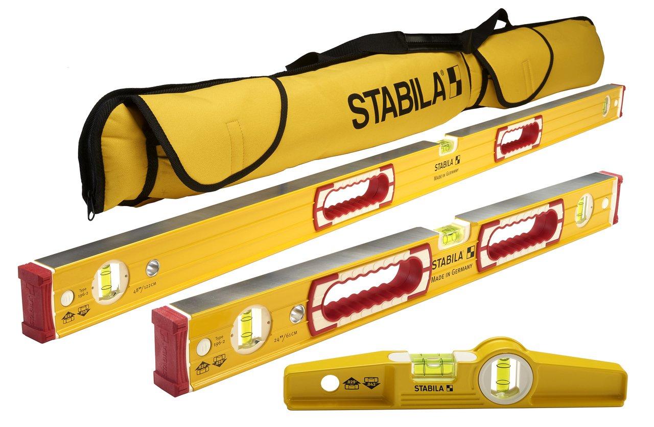 Stabila Classic 196 3 Level Set Includes 48''/24''/25100 Torpedo and 30015 Case