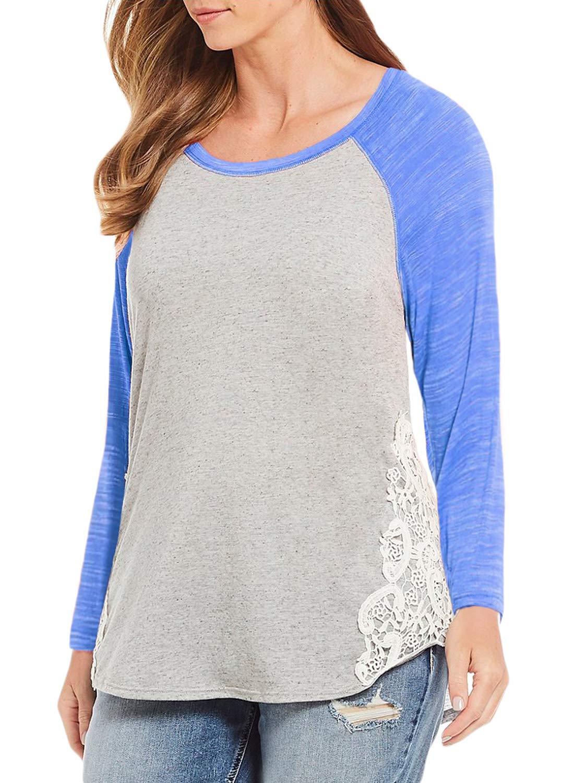 Dearlove Women's Plus Size Tops Raglan Sleeve Scoop Neck T Shirt Casual Loose Crochet Color Block Tee Shirts Blouses Blue 3X