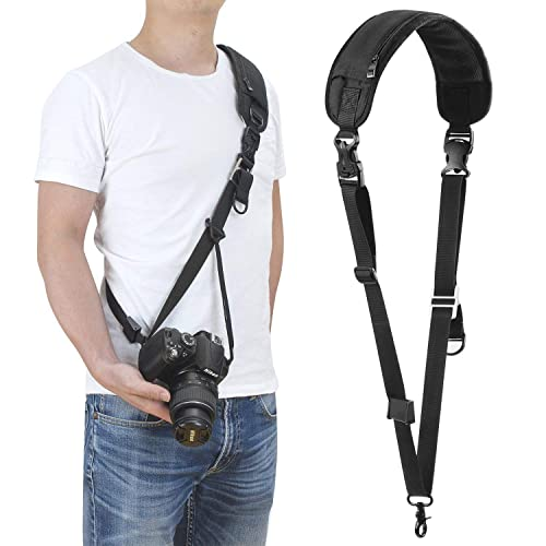 Waka Camera Shoulder Strap, DSLR Camera Sling Rapid Strap, Quick Release Camera Neck Strap with Safety Tether for Canon, Nikon, Sony, Olympus All DSLR - Black