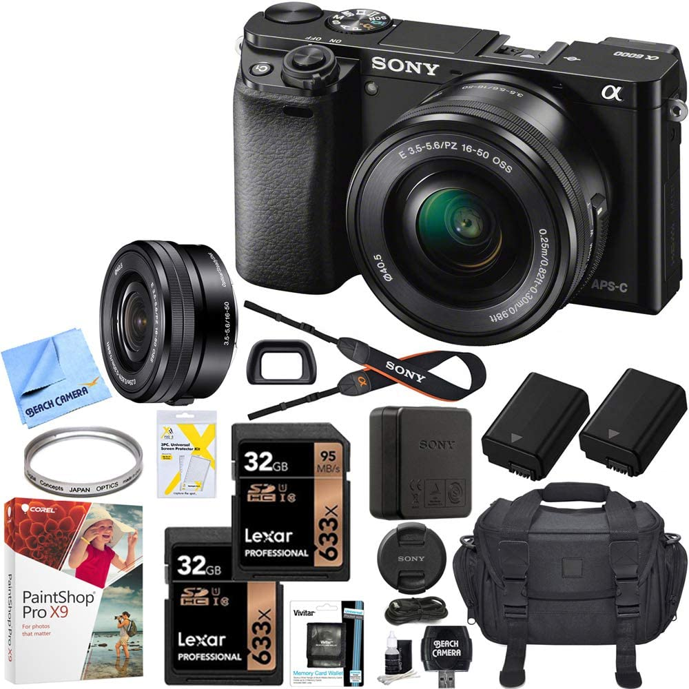 Sony Alpha a6000 Mirrorless Digital Camera 24.3MP SLR (Black) w/ 16-50mm Lens ILCE-6000L/B with Extra Battery Case + 2X Lexar Professional 633x 32GB SDHC/SDXC UHS-I Card Bundle
