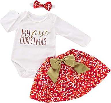 New Baby Girl My First Christmas Outfit Sizes 3 thru 12M Dress Pants Headband