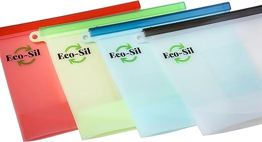 Amazon.com: Eco-Sil 4 bolsas de silicona reutilizables para ...