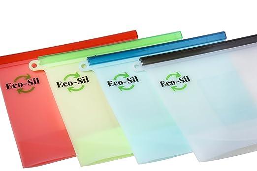 eco-sil Pack de 4 reutilizable silicona para conservación de ...