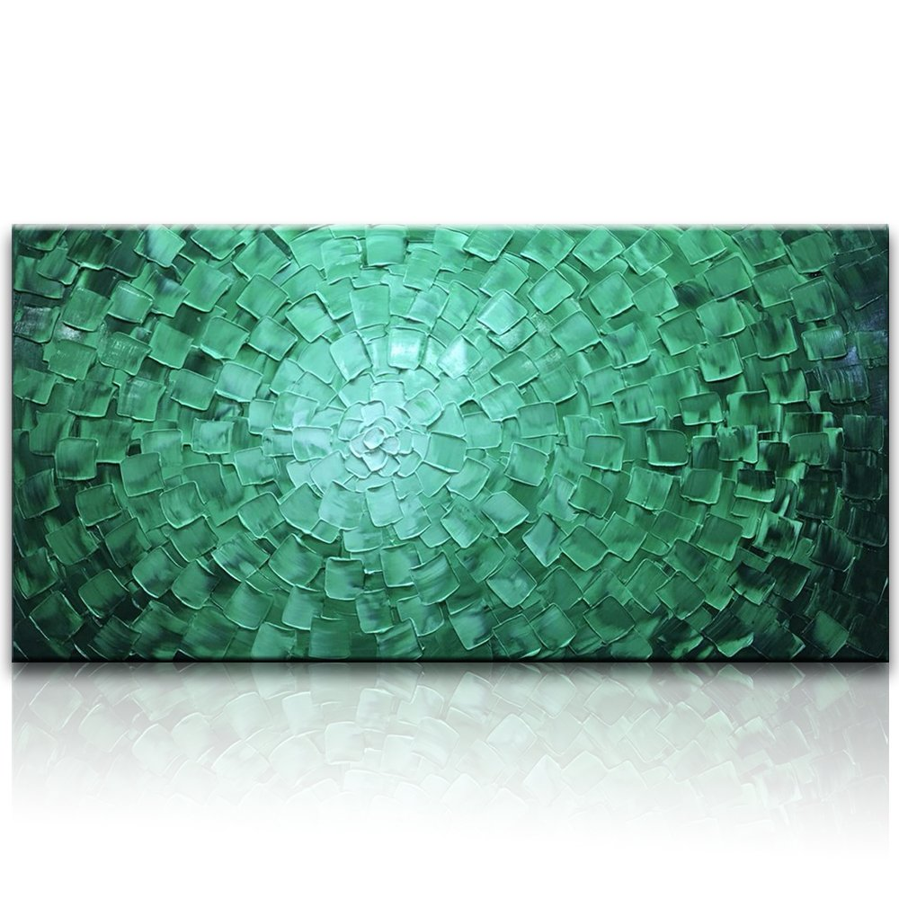 Desihum - Green Horizontal Oil Paintings Modern Framed Art 3D Hand Painted Sqare Artwork Abstract Long Green Pictures on Canvas Wall Art Ready to Hang for Living Room Bedroom Home Decor (24''x48'') by Desihum