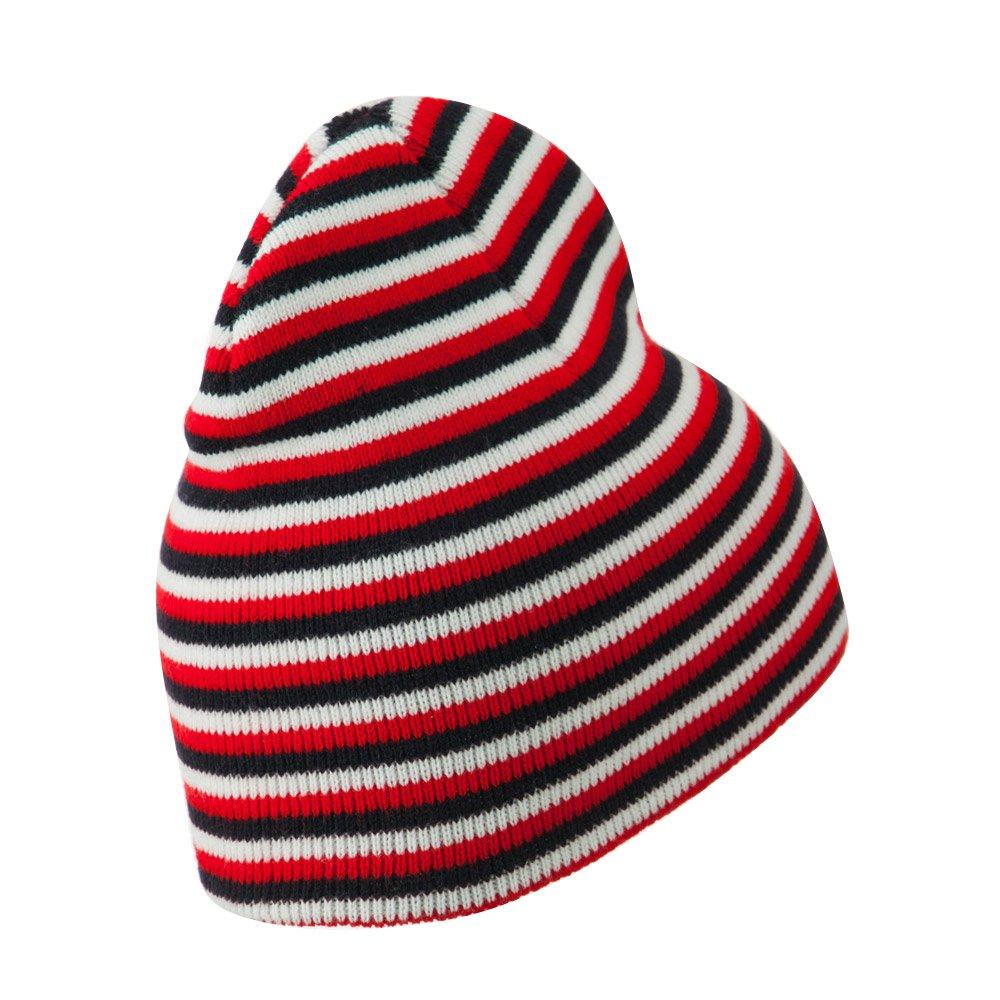 Black Red White Artex Trendy Multi Striped Beanie