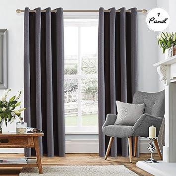 KINLO Vorhang Blickdicht Schlaufen Vorhang aus hochweitig Hanfimitat  Flanell Verdunkelung Gardine Wohnzimmer grau 140*260cm 1pcs