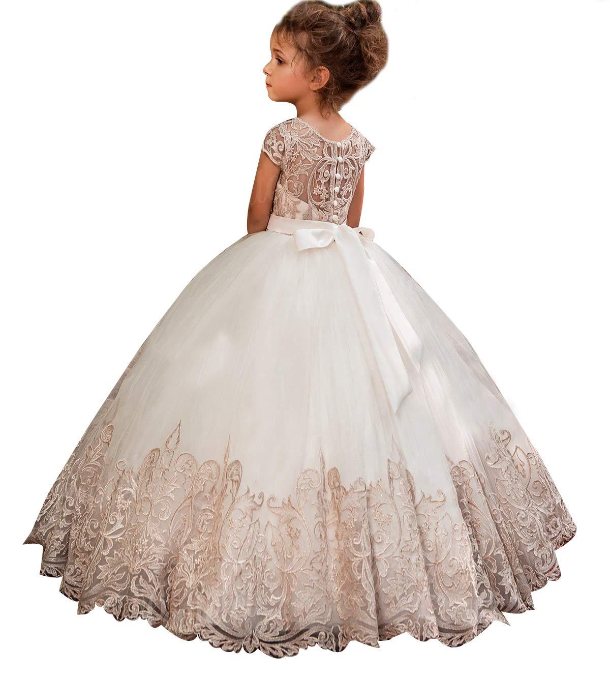346e13de38 KSDN Vestido para niñas de Boda con diseño de Bola de Flores y Lazo ...