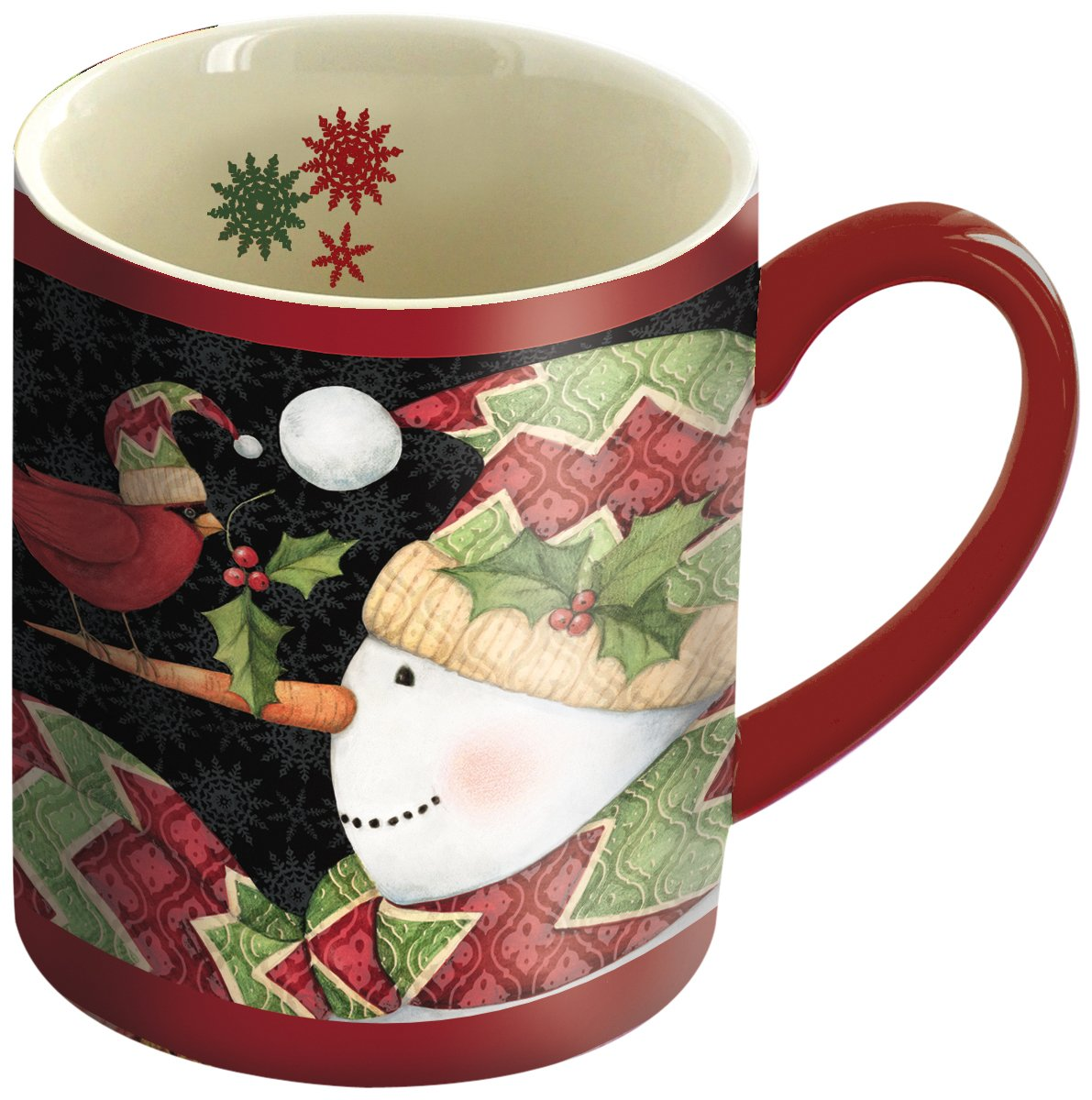 LANG - 14 oz. Ceramic Coffee Mug - Cardinal On Nose Snowman Art by Susan Winget - Christmas Holiday