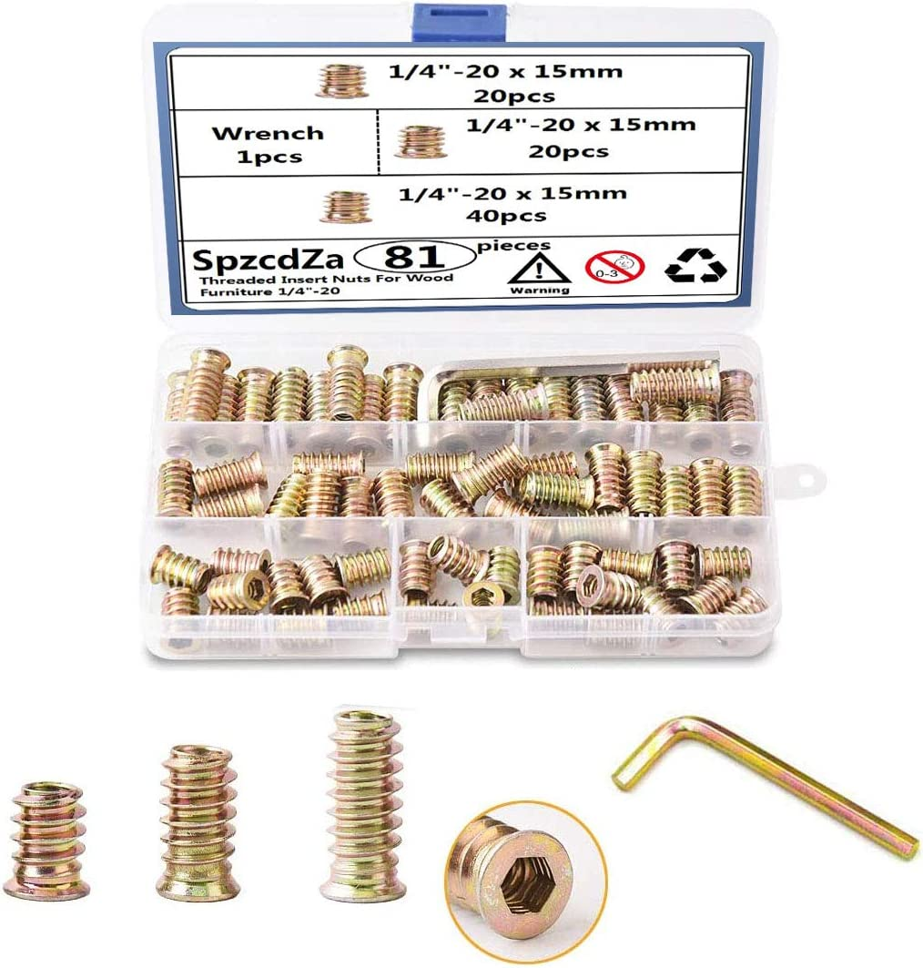SpzcdZa 1//4-20 x 15mm//20mm//25mm Threaded Inserts Nuts for Wood Zinc Plated Carbon Steel Hex Socket Drive Furniture Flanged Screw-in Nut Assortment Set with One Wrench 81PCS