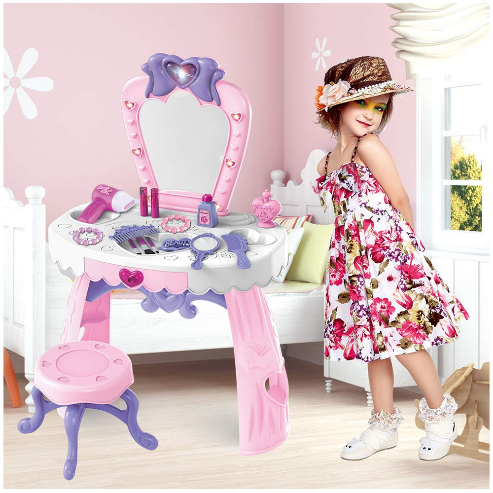 Pretend Play Kids Vanity Table | Little Girls Hair Stylist Beauty Salon Fantasy Cosmetic Dresser with Makeup Accessories | Toddlers Fashion Dress Up Play Set (23PCs) by Leadmall