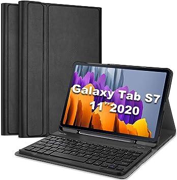 ProCase Funda con Teclado Americano para Samsung Galaxy Tab S7 11 2020(SM-T870 / T875 / T878), Carcasa Delgada con Teclado Inglés Inalámbrico ...