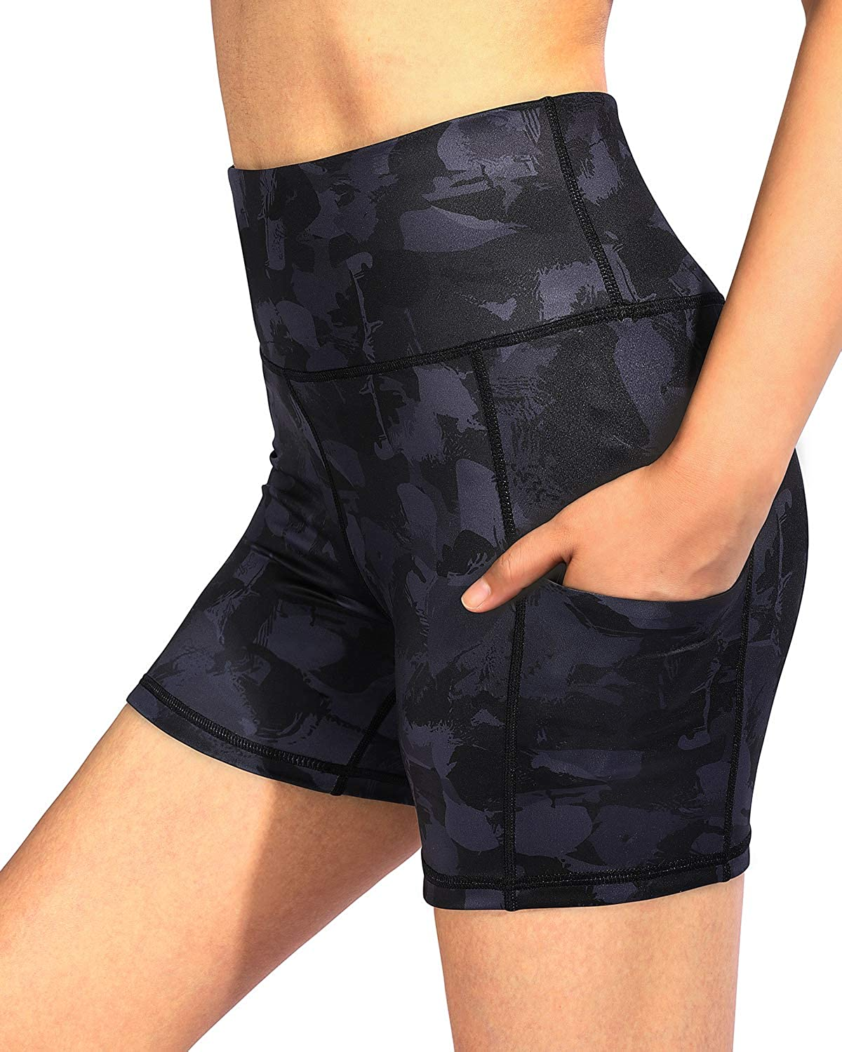 G4Free High Waist Yoga Shorts with Pockets Workout Biker Shorts for Women Non See-Through Exercise Running Short Legging