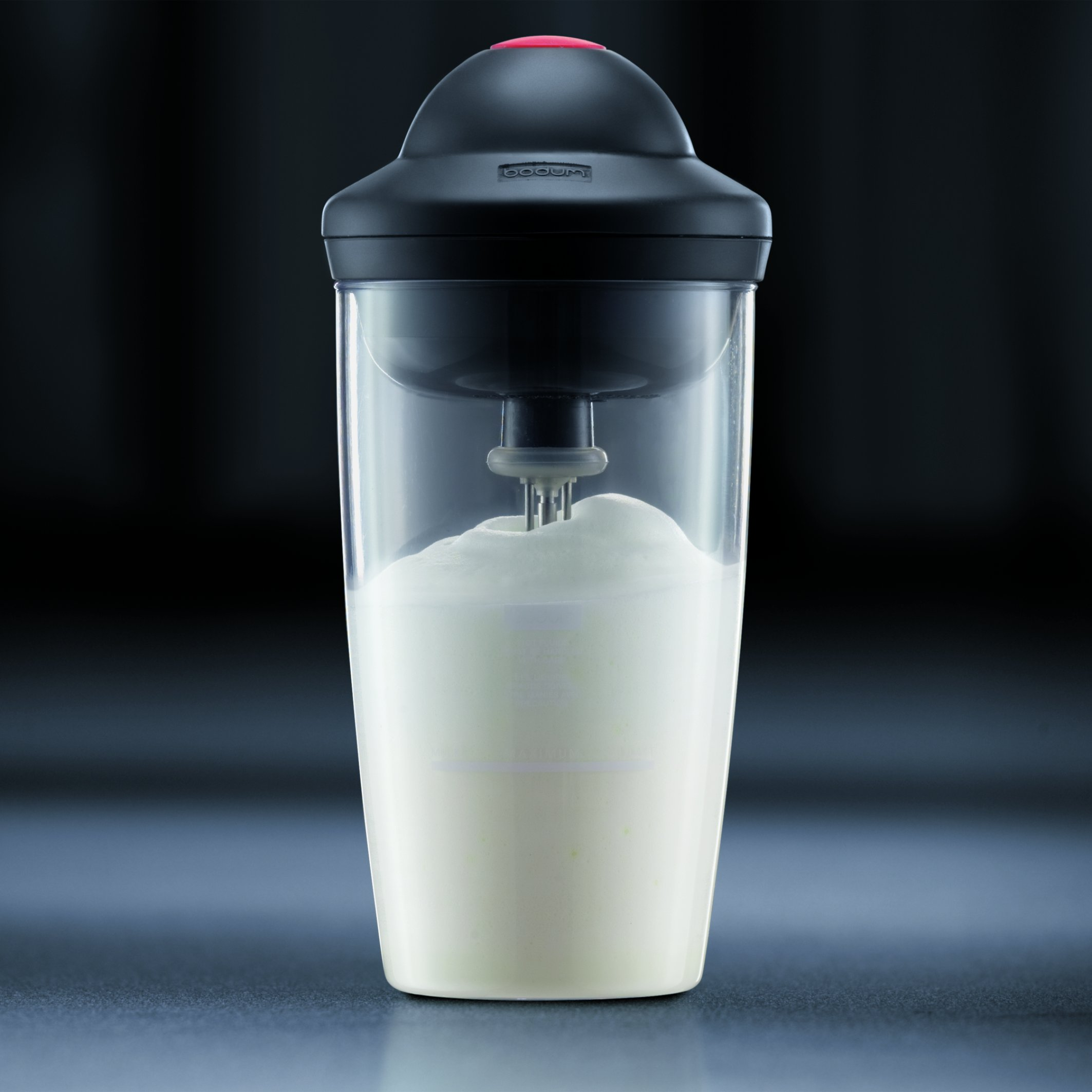 Bodum Latte Milk Frother, Battery operated, 0.2 l, 6 oz, Glass/Off White, 10864-913G