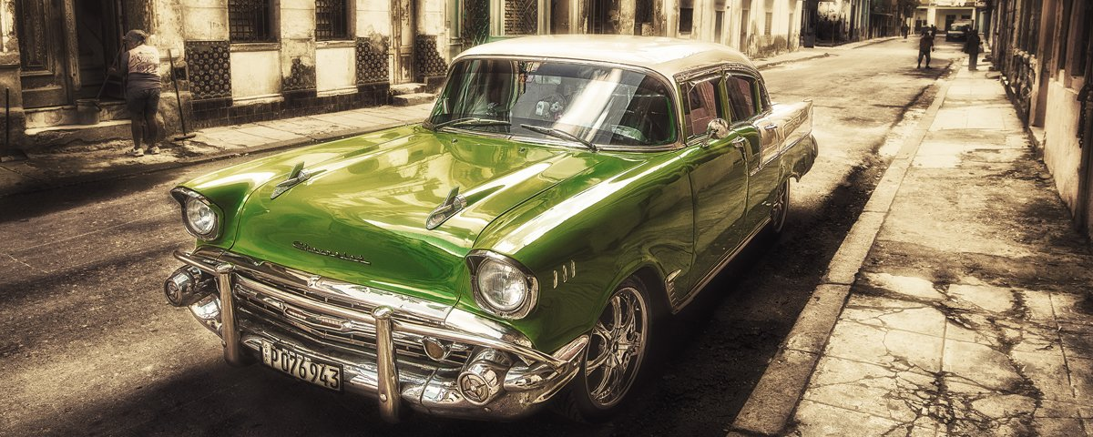 Eurographics alu1001Cuban Car IV, Verre, DG-ALU1001 Cuban Car IV 50x125 Glasbild, Glas, Bunt, 125 x 50 x 2 cm, 125 x 50 x 2 cm