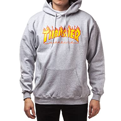 Amazon.com  Thrasher Flame Hoodie - Grey  Clothing c16a49485e