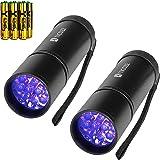 2 Pack UV Flashlight Black Light, 12 LED Handheld Blacklight Pet Urine Detector for Dog Dry Urine, Scorpion with 6pcs AAA Bat