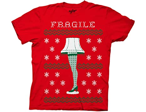 ripple junction a christmas story fragile leg lamp fauz sweater adult t shirt small red