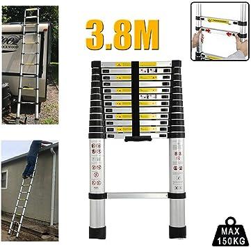 Escalera telescópica portátil de aluminio de 3,8 m con bloqueo de seguridad antideslizante, escalera compacta de 150 kg de carga máxima para trabajos de reparación/trabajo en casa: Amazon.es: Bricolaje y herramientas