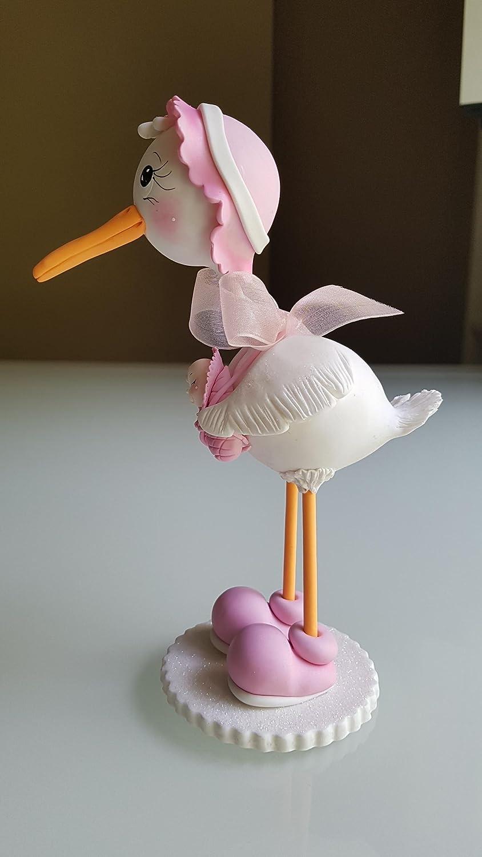 Hermosa Cigueña en Porcelana Baby Shower Nacimiento niña. Hecha a mano decoracion de tarta: Amazon.es: Handmade