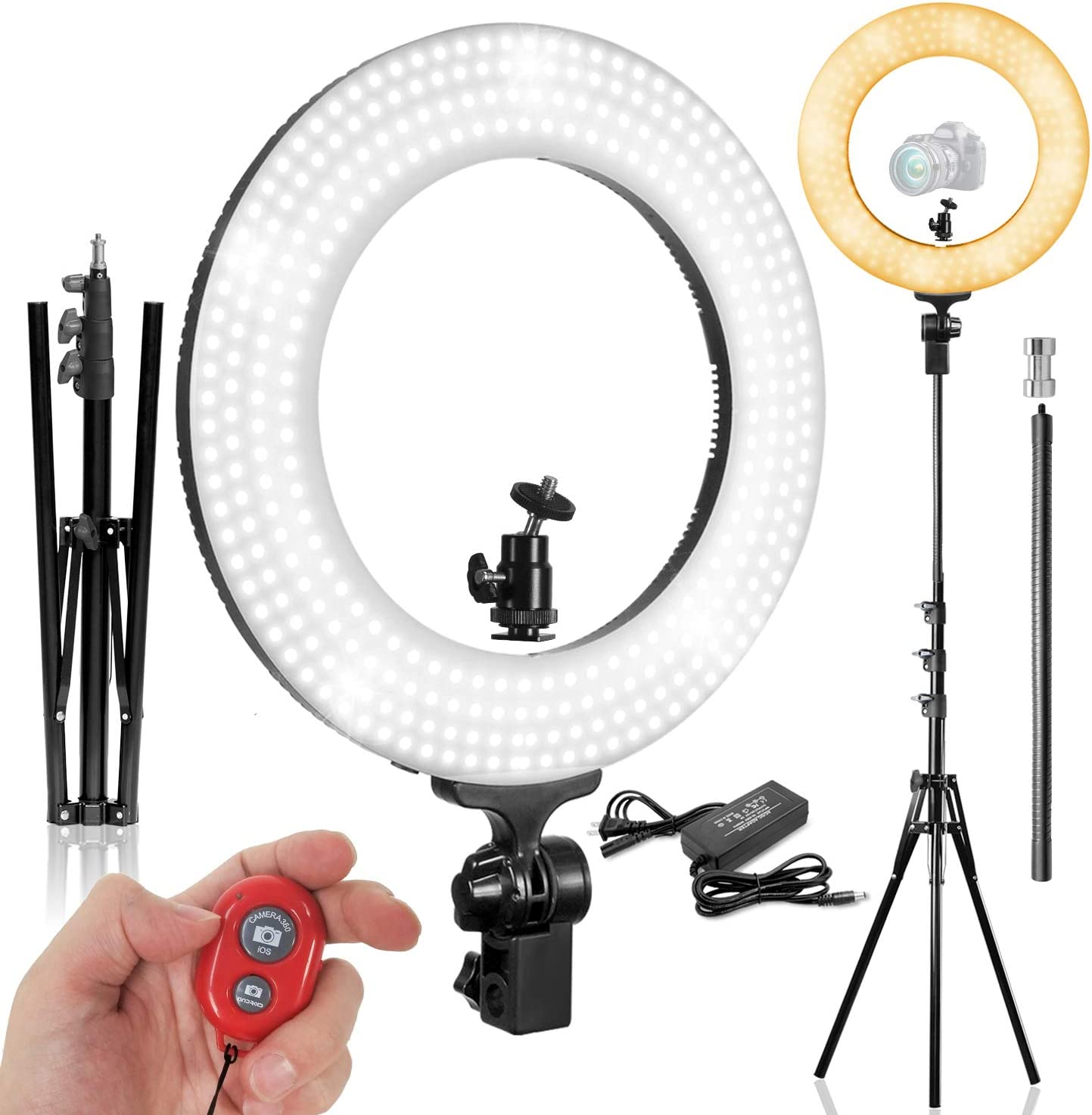1//4 Hot Shoe Mount Adapter PROMOAGG2820/_V2 LimoStudio 14 LED Dual Color Dimmable Continuous Lighting for Beauty Facial Shoot with Bluetooth Remote Camera Shutter