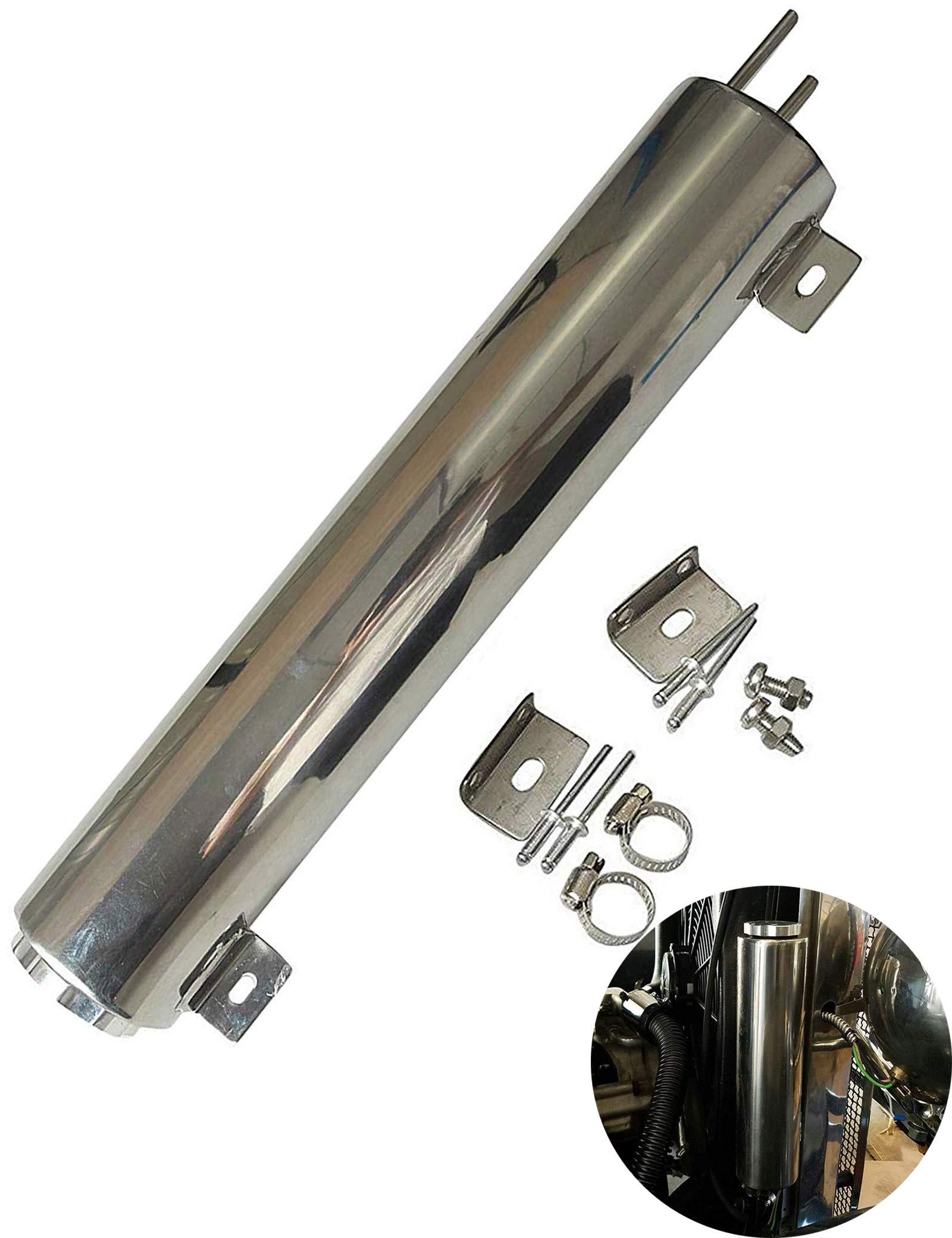 BLACKHORSE-RACING 3'' X 10'' Radiator Coolant Overflow Puke Tank Polished Stainless Steel 32OZ by BLACKHORSE-RACING (Image #1)